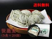 山形県尾花沢 星川のなま麺 笹そばまとめ買い20袋(100食入/つゆ付)送料無料:画像