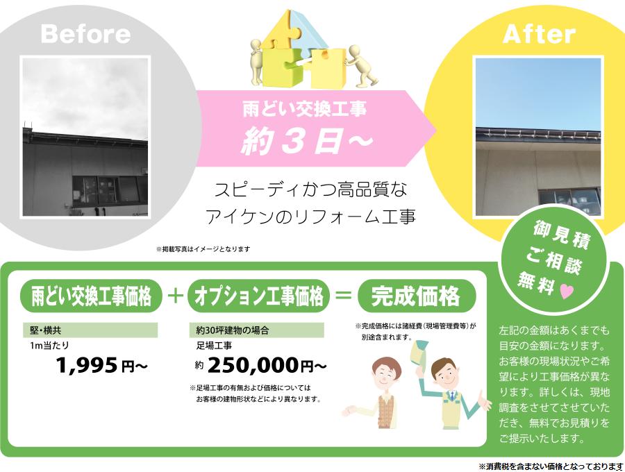 雨どい交換工事約3日〜