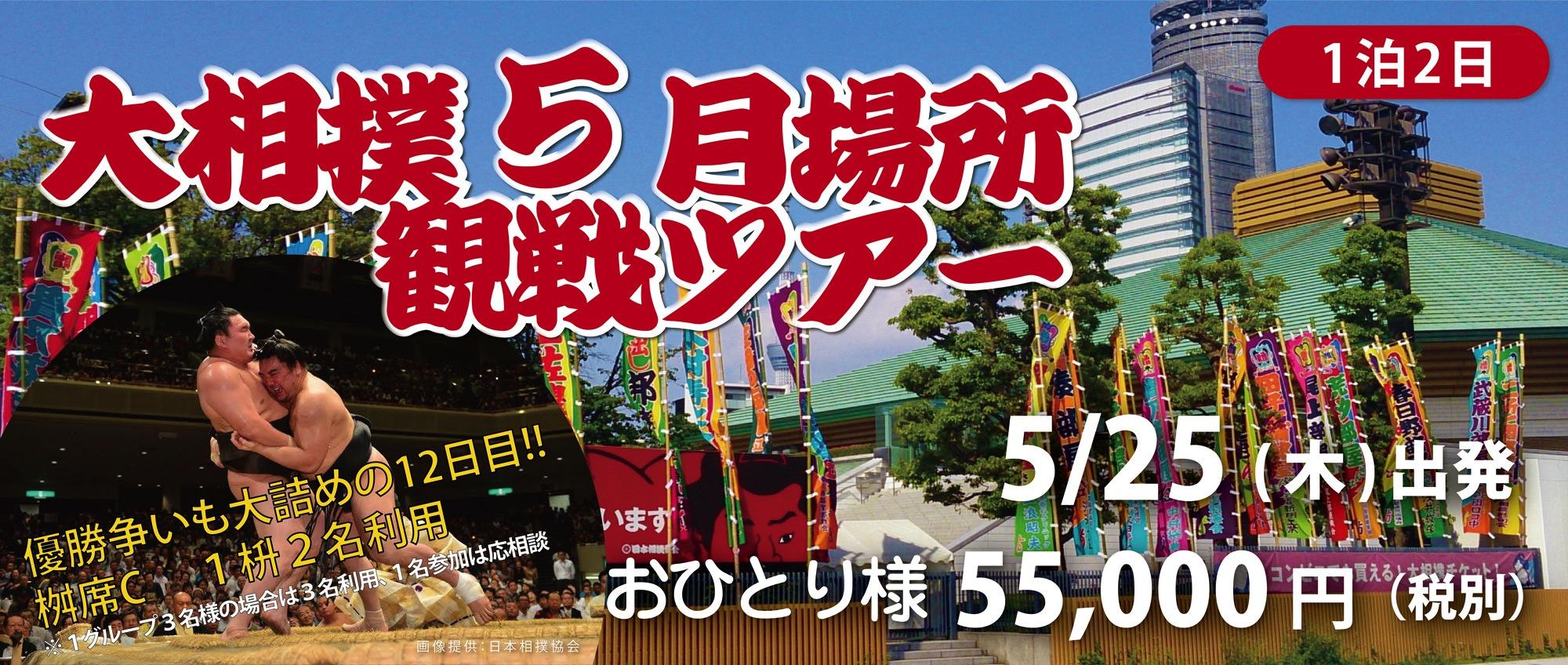 大相撲5月場所観戦ツアー 5月25日(木)出発 1泊2日