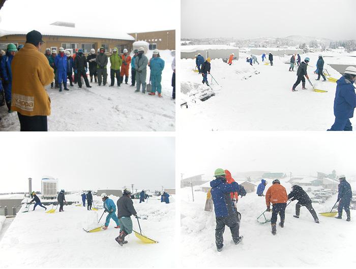 飯豊町介護老人保健施設「みの美」の雪下し
