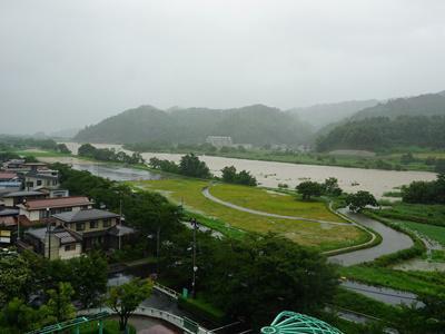 【大雨の長井市】:画像