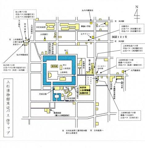 上杉神社周辺バス停マップ:画像