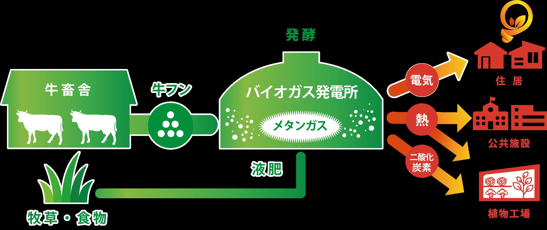 バイオガス発電のイメージ図