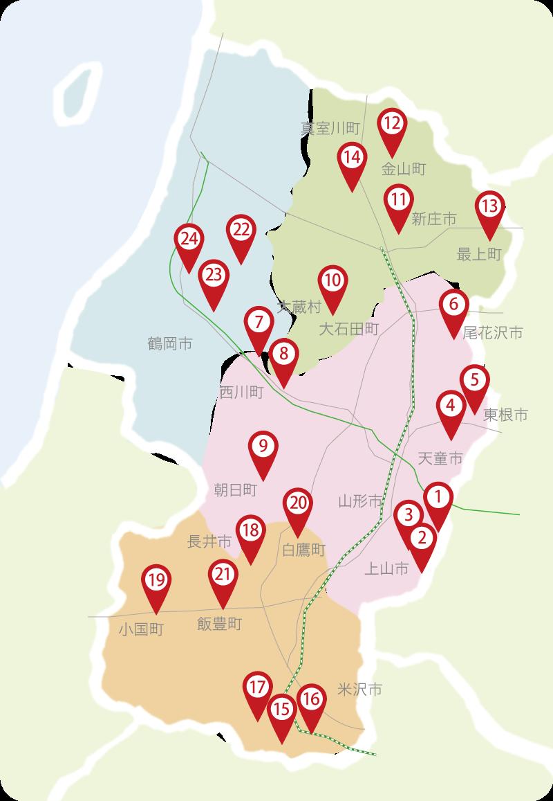 Skiing area map in Yamagata Prefecture