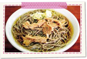 Native district food chilled Niku soba of Kahoku-cho